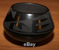 Maria Martinez San Ildefonso Pottery Black Jar (Storm & Lightening Design)