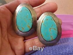 Massive Antique Navajo Blue Gem Turquoise Sterling Silver Earrings