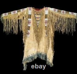 Men's Handmade Native American Indian Leather Jacket Fringes beads