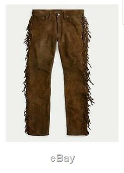 Men's Native American Brown Cow suede leather Jeans style pants with fringes 999