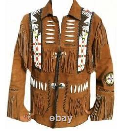 Men's Native American Eagle Beads Suede Leather Jacket Fringes bones