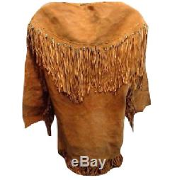 Men's Native American Mountain Man COW / Buck Skin Suede Leather Shirt