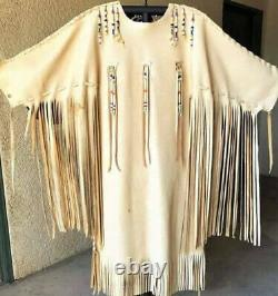 Men's Native Wear Suede Leather Fringes Jacket Native American War Shirt