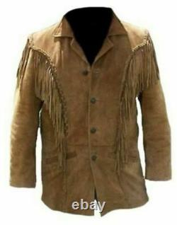 Men's Western Brown Suede Leather Fringe Native American Jacket Coat All Sizes