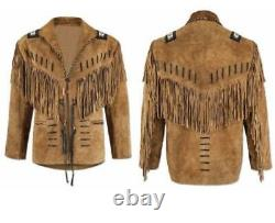 Mens Native American Western Wear Brown Suede Leather Jacket With Fringes