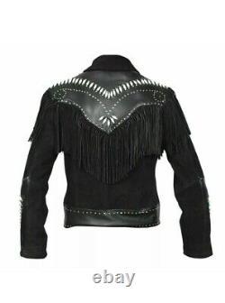 Mens Western Wear Black Suede Cow Leather Jacket Native American Fringe & Bones