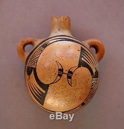 Native American Hopi Pueblo Painted Pottery Canteen Water Bottle