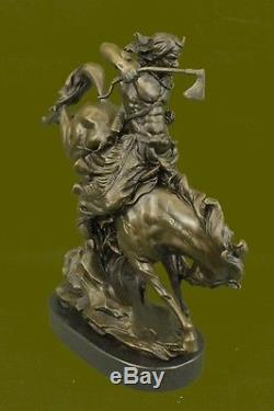 NATIVE AMERICAN INDIAN CHIEF GERONIMO BUST AXE BRONZE STATUE SCULPTURE SIGNED NR