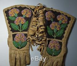 NATIVE AMERICAN INDIAN FINE OLD PAIR BEADED GAUNTLETS Plateau