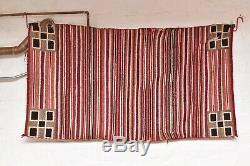NAVAJO RUG ANTIQUE 57x32 native american striped Vintage double Saddle blanket