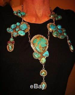 NAVAJO STUNNING NECKLACE AMAZING TURQUOISE, ANTIQUE STYLE, STERLING SILVER, 235g
