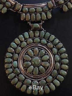 Native American Antique Sterling Silver and Turquoise Squash Blossom with Earrings