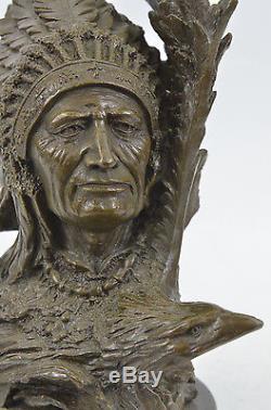 Native American Art Indian Chief Southwerstern Bronze Bust Sculpture Statue Sale