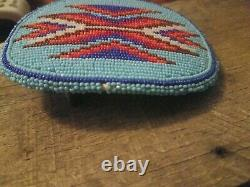 Native American Beaded Belt Buckle Turquoise Blue Reds Vintage Western Cowboy
