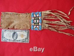 Native American Beaded Leather Tobacco, Strike-a-lite, Medicine Bag, Buf-00974
