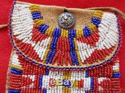 Native American Beaded Leather Tobacco, Strike-a-lite, Medicine Bag, Buf-d93