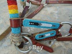 Native American Beautifully Beaded Leather Bridle/headstall New Condition
