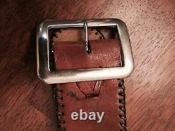 Native American Belt Leather Vintage Antique Brown Whirling Log Swastika 1920s