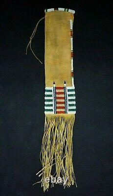 Native American Brain Tanned Deer Hide Beaded Pipe Bag Cheyenne