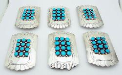 Native American Handmade Turquoise 3-1/4 by 2 Belt Buckle in Sterling Silver