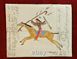 Native American Indian Artist Ledger Art on Antique 1842 ledger page
