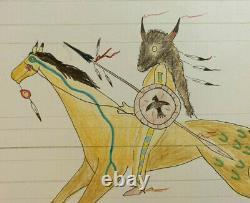 Native American Indian Artist Ledger art on Large Antique ledger paper