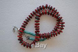 Native American Indian Or Chinese Necklace Natural Corals Turquoise Beads 23.5l