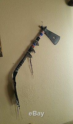 Native American Indian Pipe Tomahawk with Pierced Cross Iron Blade