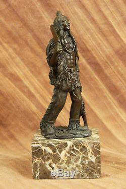 Native American Indian Warrior Chieftain 100% Real Bronze Statue Sculpture Decor