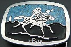 Native American Indian Warrior Southwest Turquoise Signed Vintage Belt Buckle