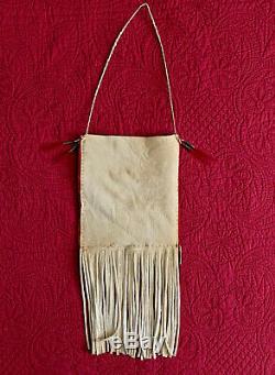 Native American Indian made Quillwork an antique beads on Brain tan buckskin bag