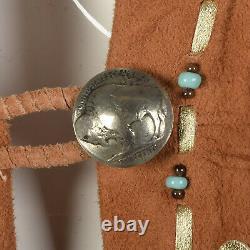 Native American Inspired Suede Leather Dress Boho Beaded Fringe Festival Jacket