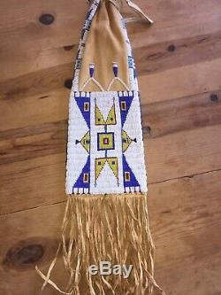 Native American Lakota Indian Pipe Bag Antique Seed Beads Brain Tanned Beaded