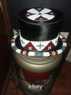 Native American Style Beaded Top Hat Beaver Fur Antique