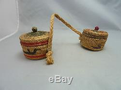 Native American Weave Miniature Connected Baskets with Covers. Very Nice Design