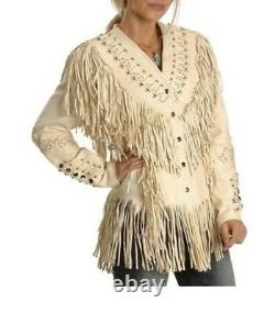 Native American Western Women's Cow Leather Jacket Fringes bones