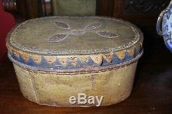 Native American Woodlands Tribal Large Birch Bark Box Antique Handmade Rare 19th