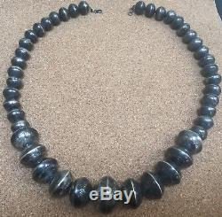 Navajo Antique Style Sterling Silver Stamped Bench Bead Necklace Large 154 gr