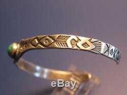 Navajo Indian Thunderbird Antique Bracelet Sterling Silver Turquoise 75 years