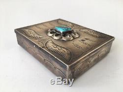 Navajo Native American Large Sterling Silver Turquoise Desk Trinket Box 258 Gr