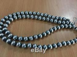 Navajo Pearls- Beautiful sterling Silver beads Necklace-antique look-24 inches