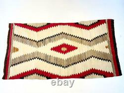 Navajo Rug Carpet Native American Red Beige Tone Vintage Antique 1940's Rare