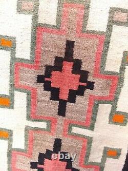 Navajo Rug JB Moore Crystal Blanket Antique Native American Indian Weaving 60x30