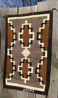Navajo Rug Two Grey Hills Weaving Antique Native American Natural Hand Spun 1920