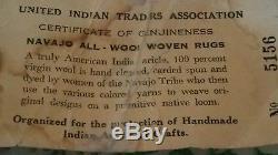 Navajo Vintage Ganado Style Rug Wool 84 x 40 Inch Certificate
