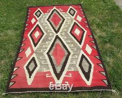 Nice Large Antique Navajo Native American Indian Rug 4' 4 by 6' 10