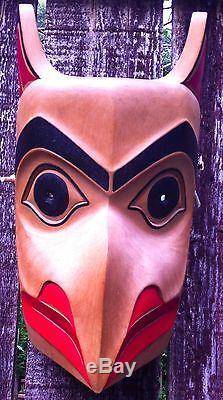 Northwest Coast Haida Indian Hand Carved Painted Large Mask Signed