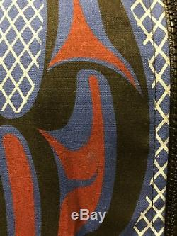 Nytom Vintage Blue Makah Northwest Native American Tribal Totem Pole Jacket Sz L