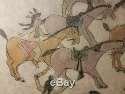 ORIGINAL LEDGER ART. ARMY PONIES. Very large! Early to Mid 1900s