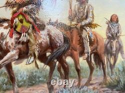 Oil on Academy Board by Ken Gunall, War Party South West/Native American Art